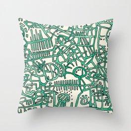 Begin/End Series in Green Throw Pillow