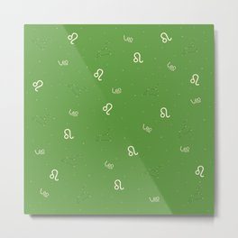 Leo Pattern - Green Metal Print