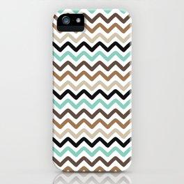Aqua, Brown, and Black Chevron Stripes iPhone Case