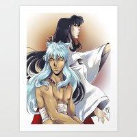 inuyasha Art Prints featuring Inuyasha and Kikyou by Chantel Noel Illustrations