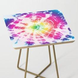 Tie-Dye Sunburst Rainbow Side Table