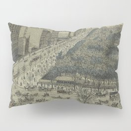 Vintage Pictorial Map of Central Park, 5th Avenue & 59th Street (1886) Pillow Sham