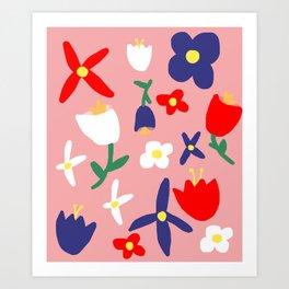 Large Handdrawn Bacchanal Floral Pop Art Print Art Print