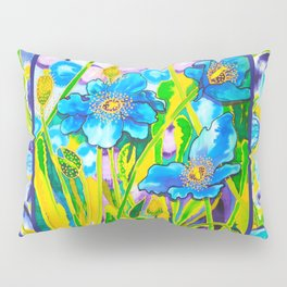 Blue Poppies 2 with Border Pillow Sham