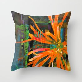 Electric Floral Burst in Tangerine Throw Pillow