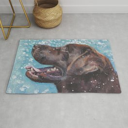 Chocolate lab LABRADOR RETRIEVER dog portrait painting by L.A.Shepard fine art Rug