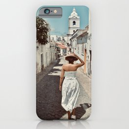 Life is Beautiful | Cobble stone streets in Portugal | Travel photography, art print, photo art iPhone Case