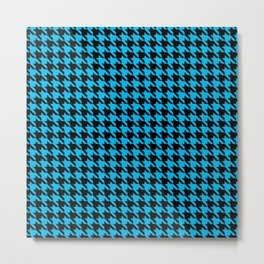 Black and Turquoise Classic houndstooth pattern Metal Print