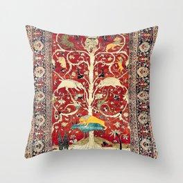 Silk Heriz Azerbaijan Northwest Persian Rug Print Throw Pillow