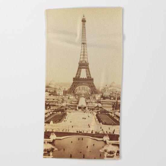 Eiffel Tower and Champ de Mars 1889 Paris Beach Towel