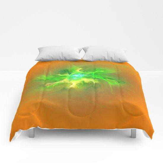 Green Burst Fractal Comforters