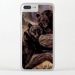 Vintage Brown Bear Painting (1909) Clear iPhone Case