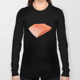 Salmon Fish Fillet Fiesta, Seafood on Peach Long Sleeve T-shirt