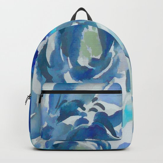 Sky Blue Painterly Floral Abstract Backpack