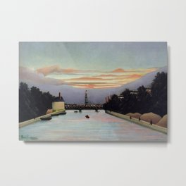 Sunset and Neon Lights at the The Eiffel Tower, Paris, France by Henri Rousseau Metal Print