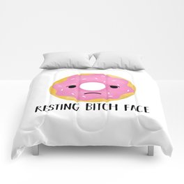 Resting Bitch Face | Pink Sprinkled Donut Comforters