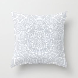 Light Gray Ethnic Eclectic Detailed Mandala Minimal Minimalistic Throw Pillow