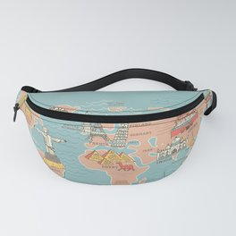 World Map Cartoon Style Fanny Pack