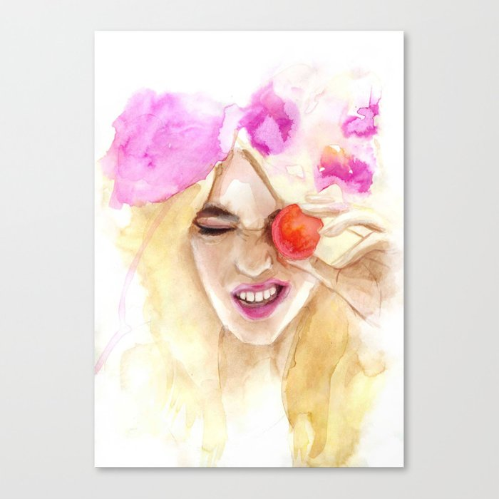 Watercolor girl with macaroon Canvas Print