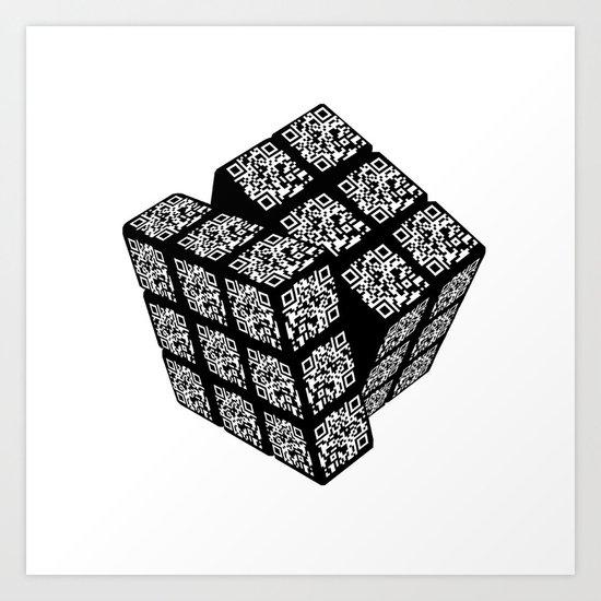qr cube Art Print