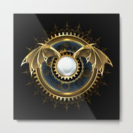 Mechanical Dragon Wings with a Lens ( Steampunk ) Metal Print