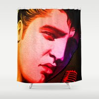 elvis presley Shower Curtains featuring Elvis Presley- Pop art by sarvesh