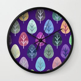 Watercolor Forest Pattern II Wall Clock