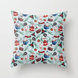 New Year's sweets, teapot, pudding, snowman, berries, holly, cones, spruce branches, tangerines Throw Pillow