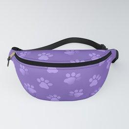 Cat Dog Paw Print Pattern in Purple Fanny Pack