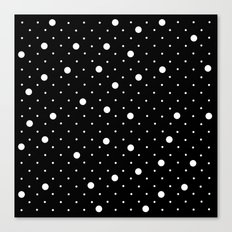 Pin Point Polka Dots White on Black Canvas Print