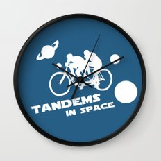 Tandems in Space in Blue Wall Clock