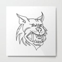 Bobcat American Football Mono Line Metal Print