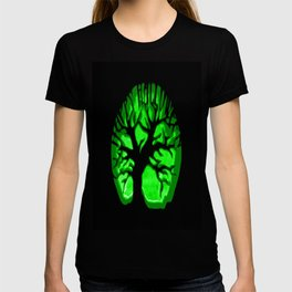 Happy HaLLoween Brain Tree : Green & Black T-shirt