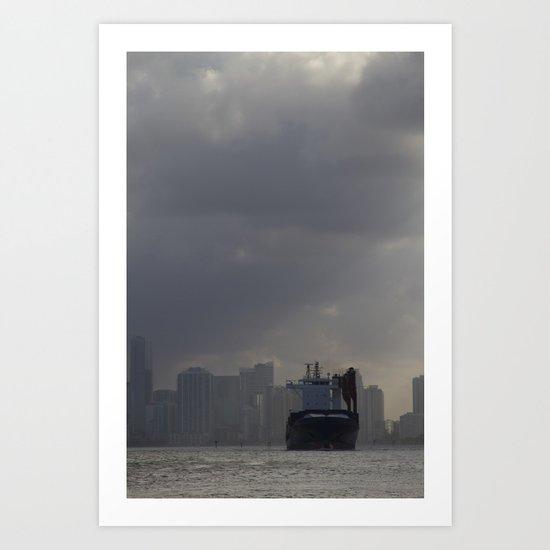 Ship Leaving Miami Art Print