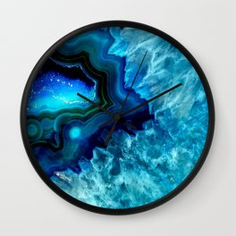 Turquoise Blue Teal Quartz Crystal Wall Clock