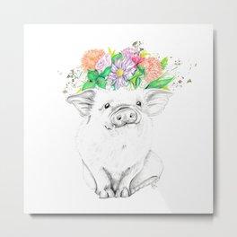 Piggy • Animal Illustration   Art Print   Wall Art   Animal Art   Original Artwork Metal Print