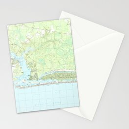 Oak Island North Carolina Map (1990) Stationery Cards