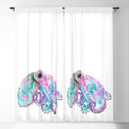 Octopus, tuquoise blue pink art Blackout Curtain