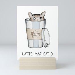 Latte Mac-cat-o Mini Art Print