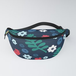 Seamless pattern with forest leaves, berries and flowers Fanny Pack