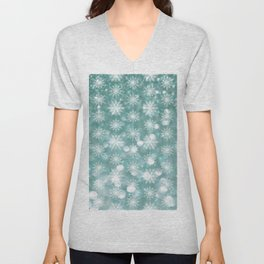 Holiday Teal and Flurries Unisex V-Neck