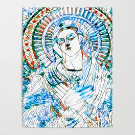 Glass stain mosaic 9 - Virgin Mary, by Brian Vegas Poster