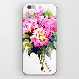 Hydrangea Pink Flowers, Floral pink decor iPhone Skin