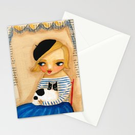 French Girl with Black and White Cat Stationery Cards