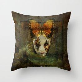 Surrealistic Venetian Mask Throw Pillow