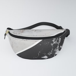 White Glitter Marble Meets Black Marble #1 #decor #art #society6 Fanny Pack