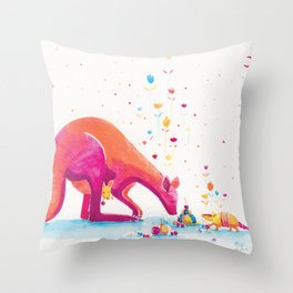 Princess Kangaroo Art Print - Armadillo's Generous Offering Throw Pillow