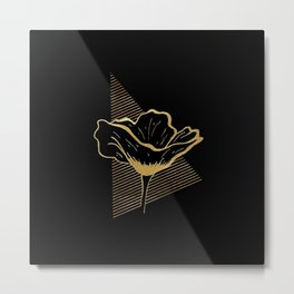 Black and Gold Poppy Flower over line triangle Metal Print