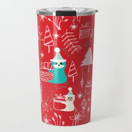 Santa Claus Cute Sloth Christmas pattern Red #christmas Travel Mug