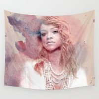 rihanna Wall Tapestries featuring Rihanna by Kanelko